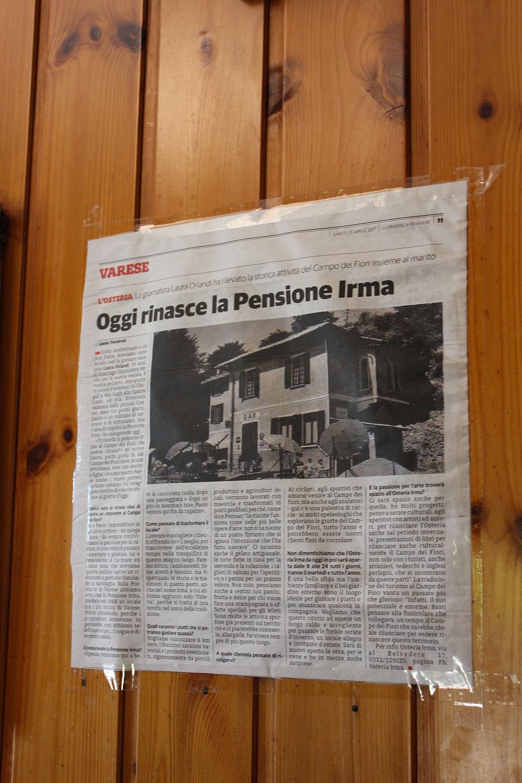Parlano di noi - Osteria Irma - Varese